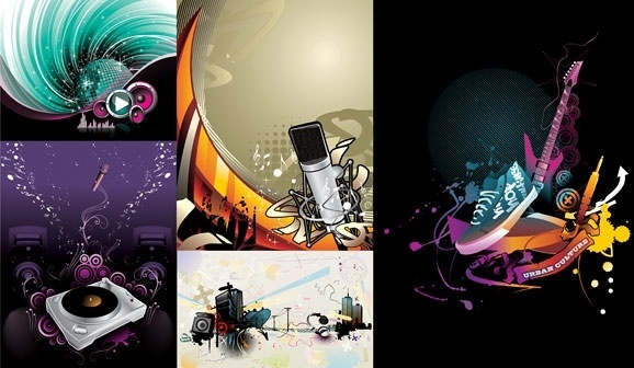 5 current music illustration vector