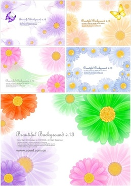 5 cute little daisy background vector