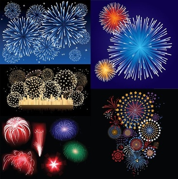 5 dazzling fireworks vector