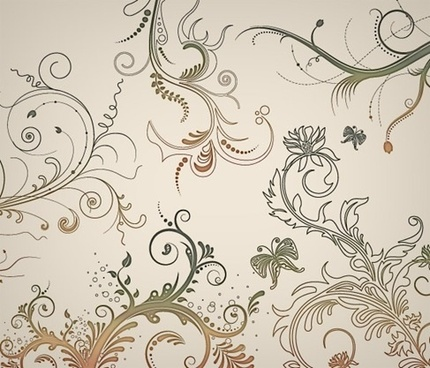5 Floral Ornaments Vector