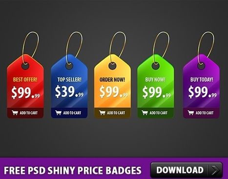 5 Free PSD Shiny Price Badges