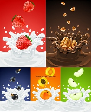 5 fruit and milk moment vector fall