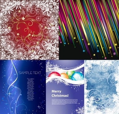 5 fun christmas vector background