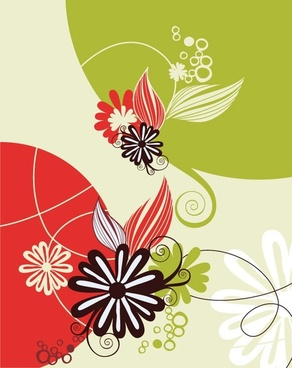 flowers background design colorful curves decoration