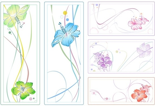 5color watercolor style flowers vector