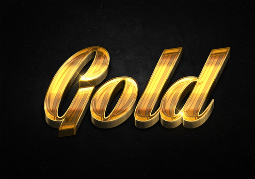 60 3d shiny gold text effects preview