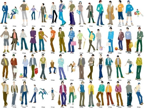 60 men vector fashion models
