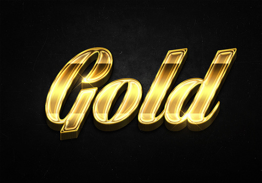 66 3d shiny gold text effects preview