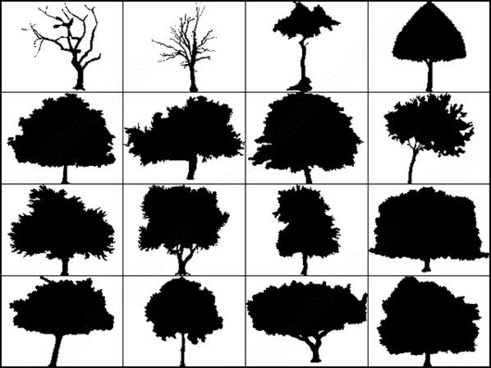 6 big silhouettes tree brush
