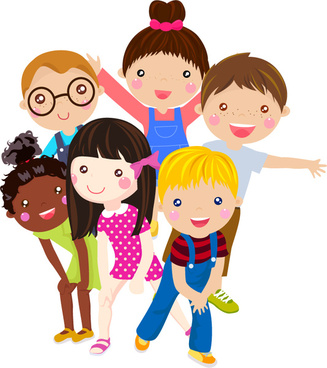 6 children8217s cartoon face vector