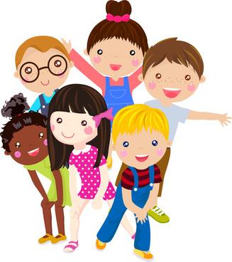 6 children8217s cartoon face vector