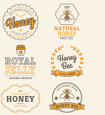 6 creative honey label vector