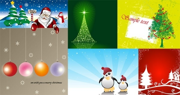 6 cute christmas vector illustration