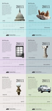 6 exquisite 2011 calendar template 2 vector