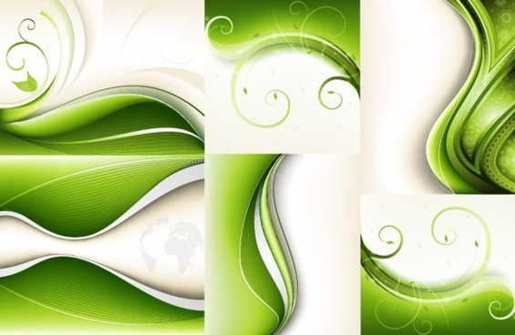 6 green vector dynamic background