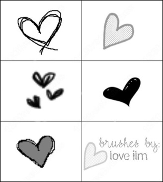 6 heart brush
