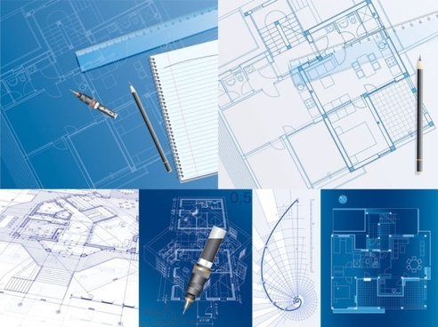 6 interior floor plan drawing theme vector