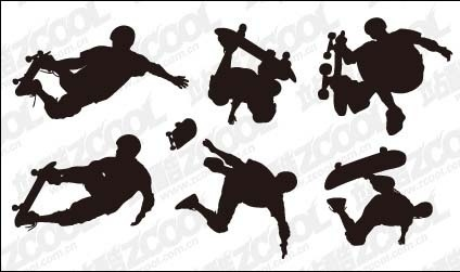 6 skateboard action figures vector material