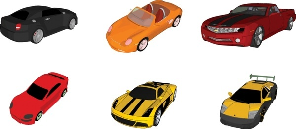 sports cars icons collection various colored sedan types