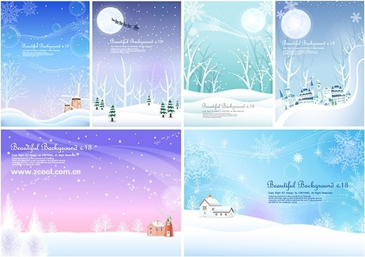 6 winter snow background vector