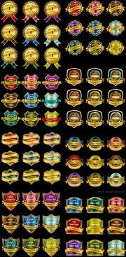 72 gold medals ribbon tag vector