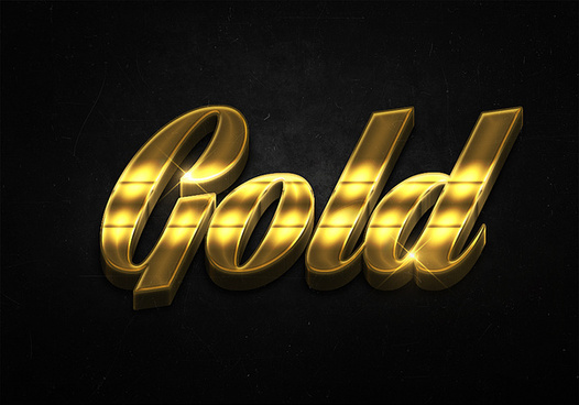 76 3d shiny gold text effects preview