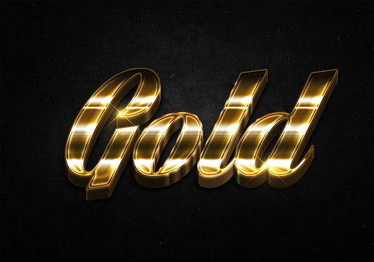 77 3d shiny gold text effects preview