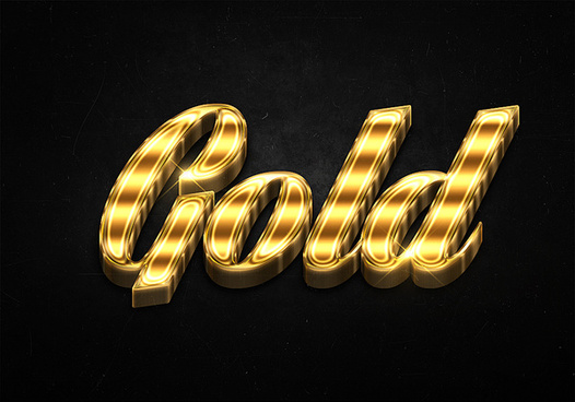 7 3d shiny gold text effects preview