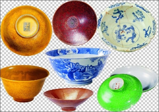7 ceramic bowls wooden bowls psd pictures