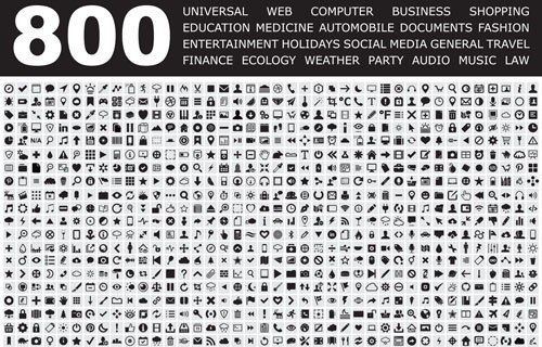 800 small fine web media icons set