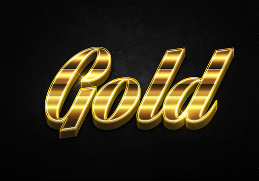 80 3d shiny gold text effects preview