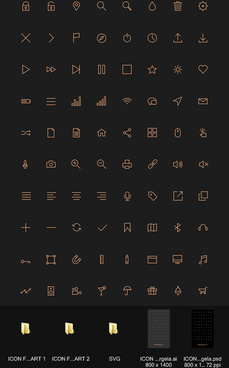 80 kind golden stroke icons