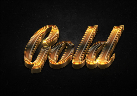 81 3d shiny gold text effects preview
