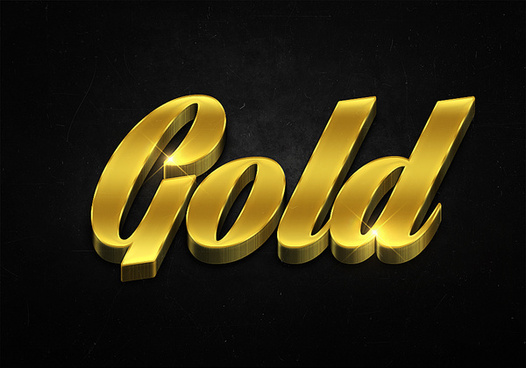 83 3d shiny gold text effects preview