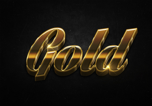 84 3d shiny gold text effects preview