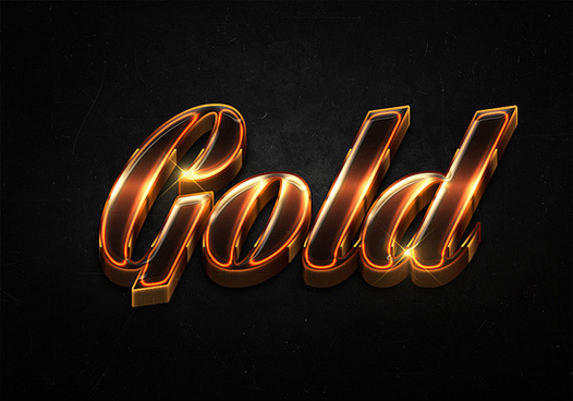 85 3d shiny gold text effects preview