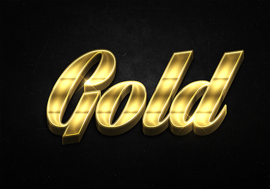 86 3d shiny gold text effects preview