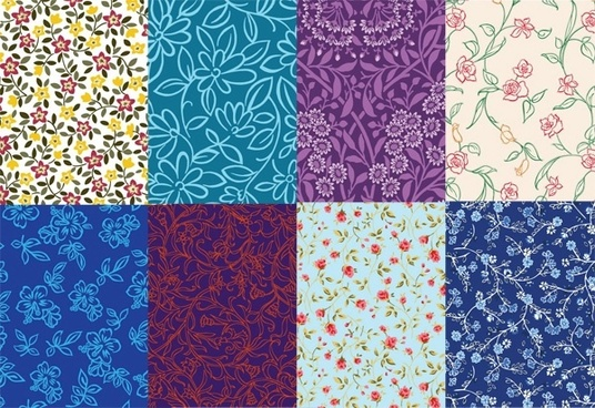 8 cute little pattern background vector