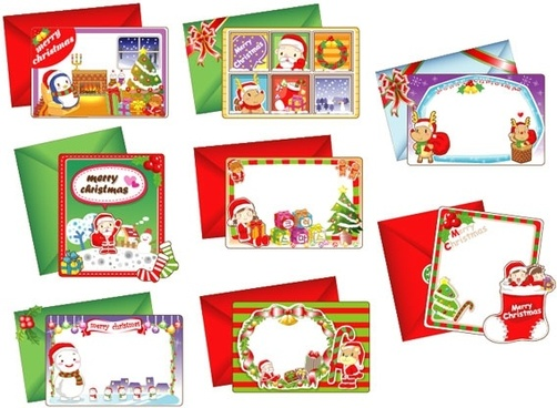 8 lovely christmas card vector
