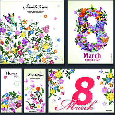 8 march flower invitation cards vectors set