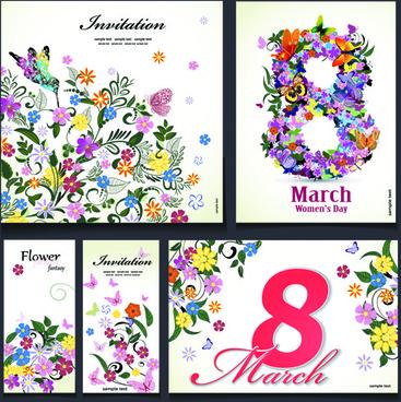 8 march flower invitation cards vectors set
