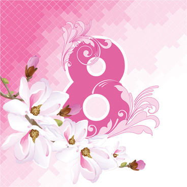 8 march womens day background set vector