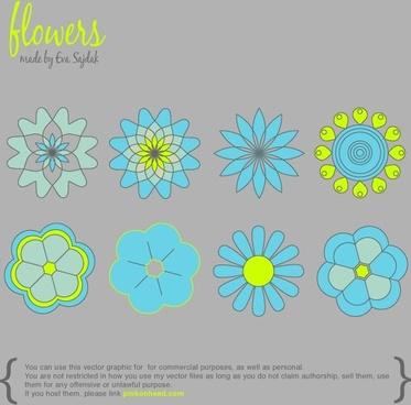 8 Simple Vector Flowers