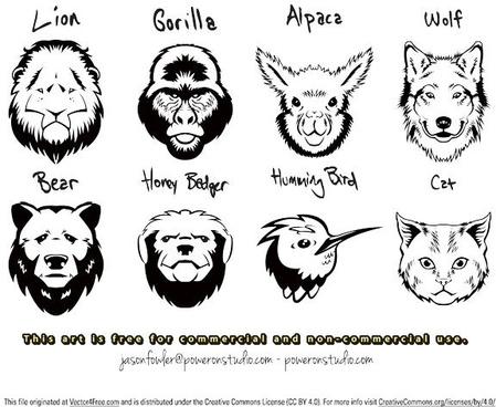 8 vector animal head