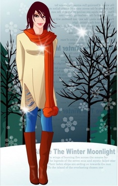 8 vector winter women