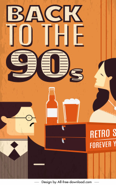 90s decade banner template lifestyle sketch flat retro
