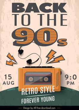 90s decade poster retro decor cassette tape sketch