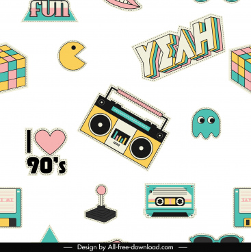 90s decade vintage iconscolorful flat 3d sketch
