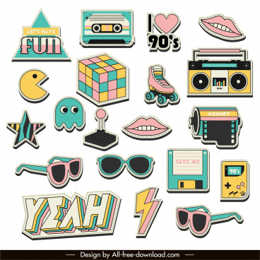 90s logo templates colorful symbols sketch