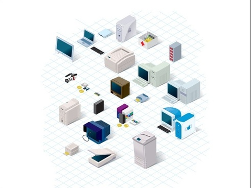 computing technology collection vector illustration with 3d style